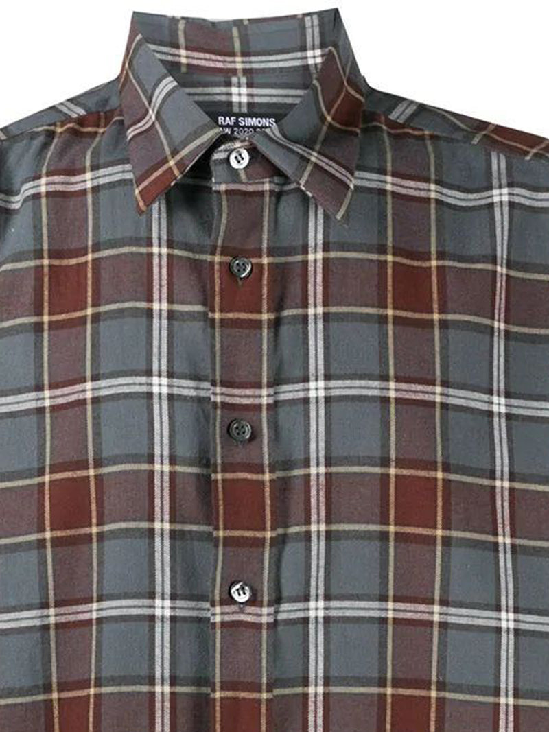 Grey & Brown Check Print Shirt