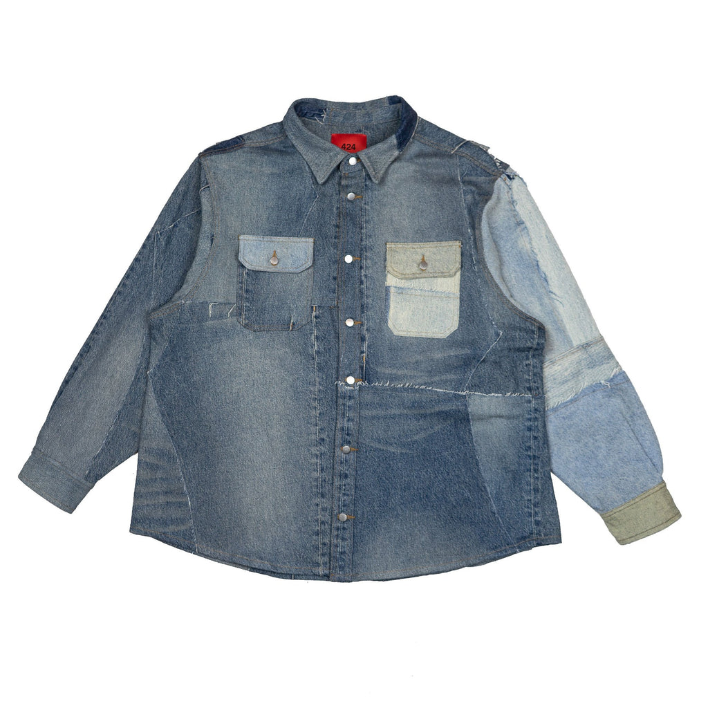 Blue Reworked Denim Paneled Work Shirt