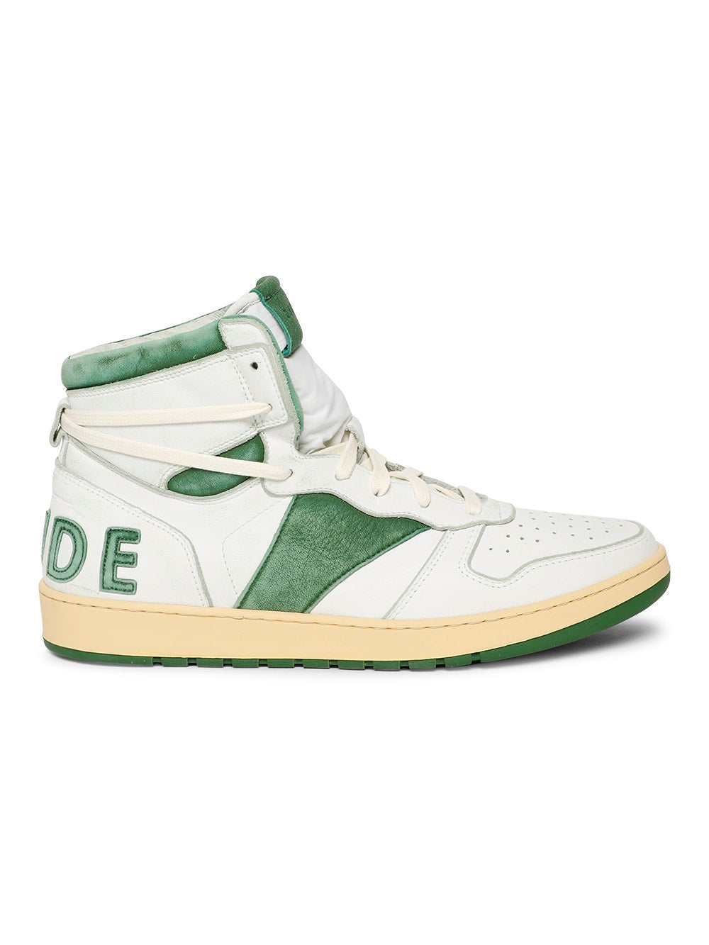 White & Green Rhecess High Top Sneakers