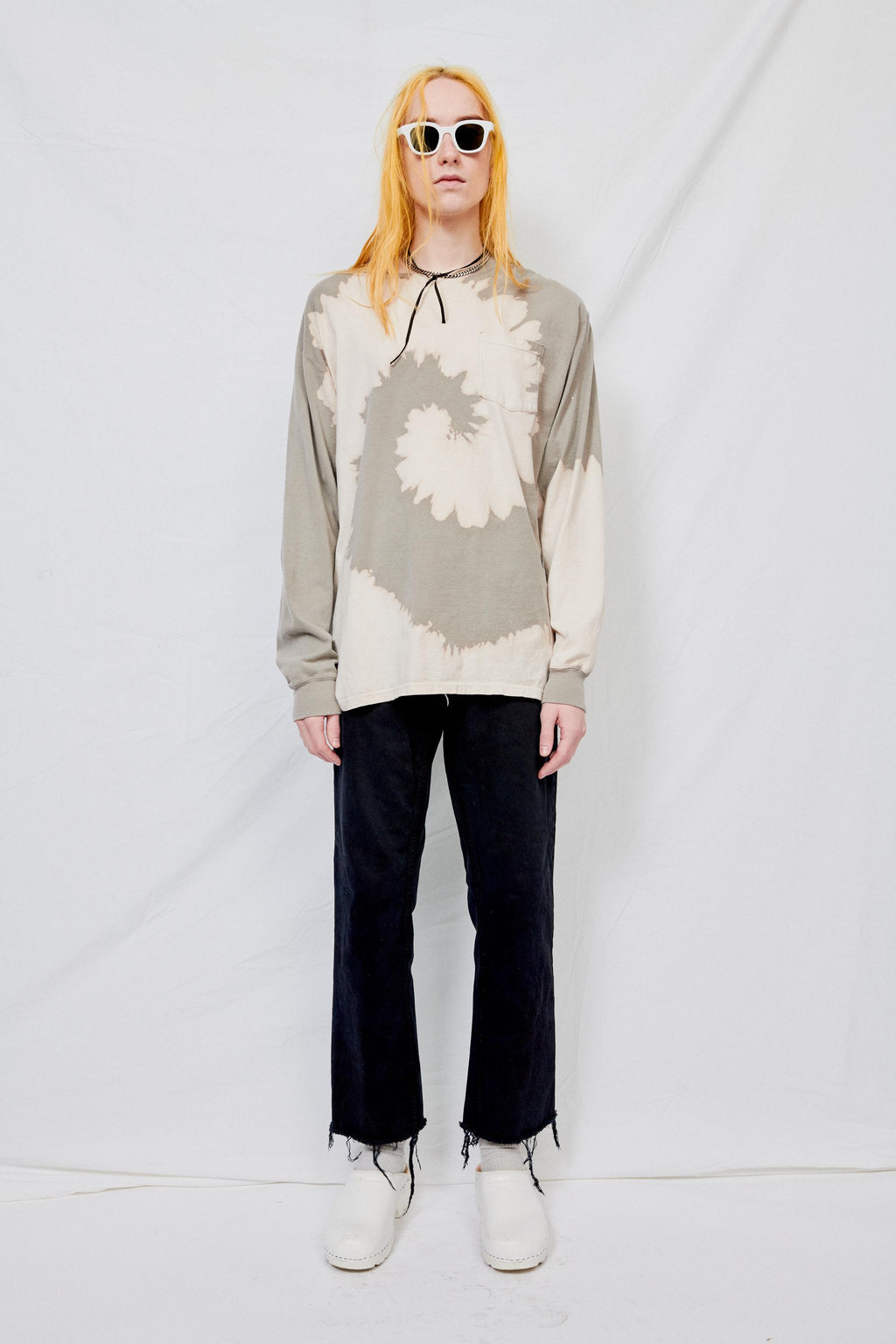 Light Grey Tie Dye Long Sleeve Shirt