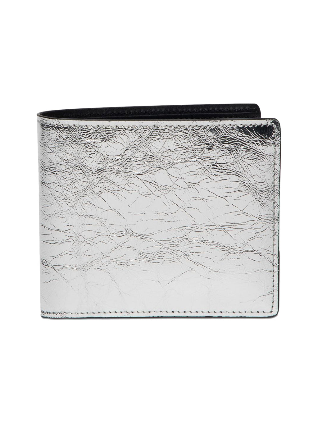 Silver & Black Distressed Classic Leather Wallet