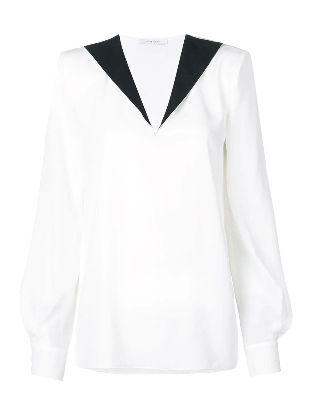 White Contrast Collar Blouse