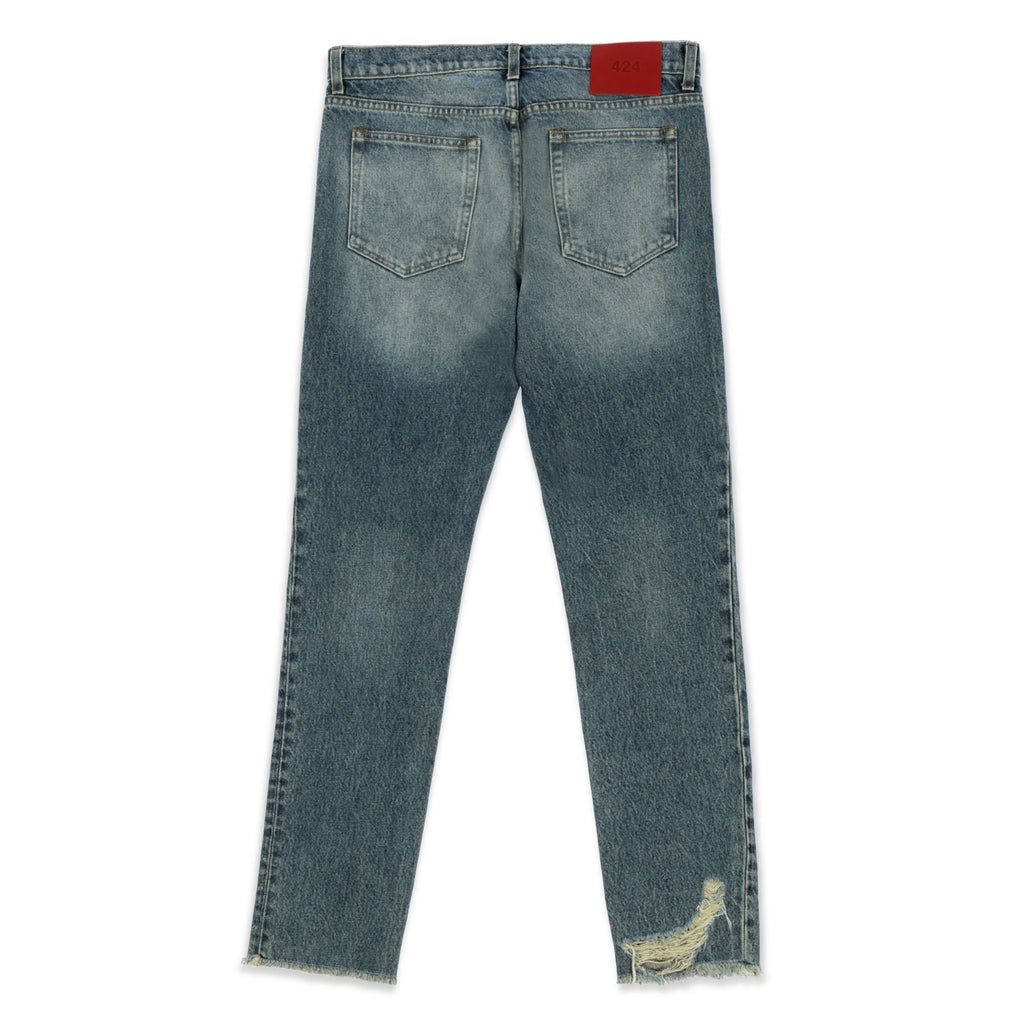 Blue Distressed Straight Leg Jeans