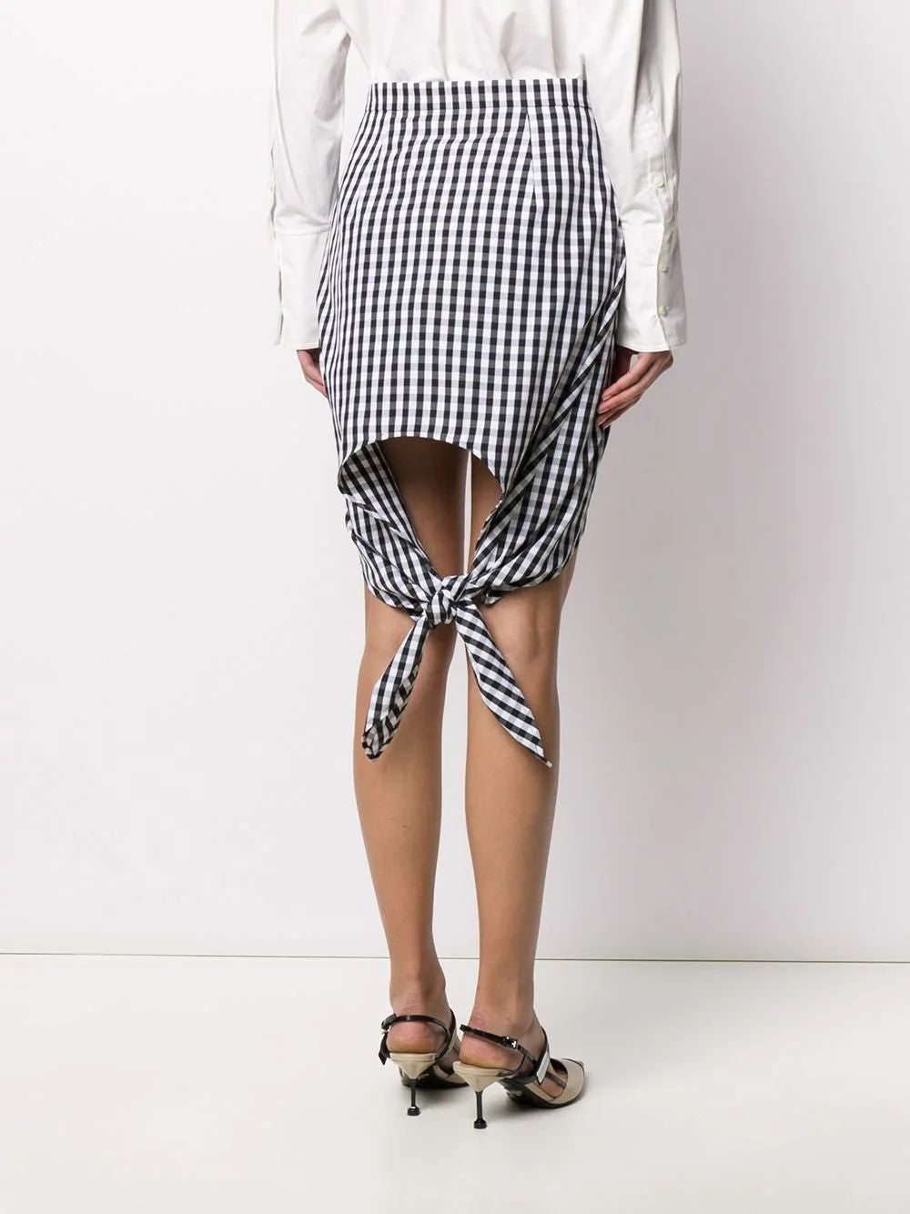 Black & White Scarf Detail Gingham Mini Skirt