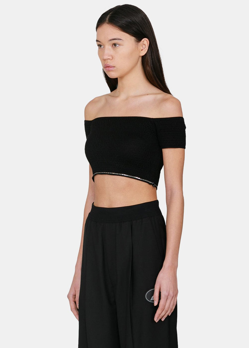 Black Off-Shoulder Crop Top