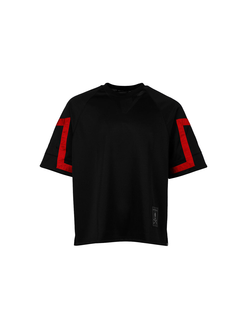 Black & Red Jacquard Tape Crewneck T-Shirt