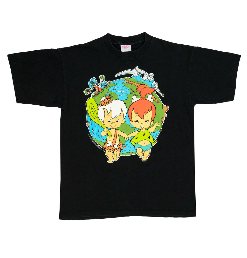Black 1995 Flintstones Bam Bam & Pebbles T-Shirt (L)