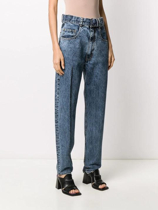 Blue Belted Side Cut Jeans