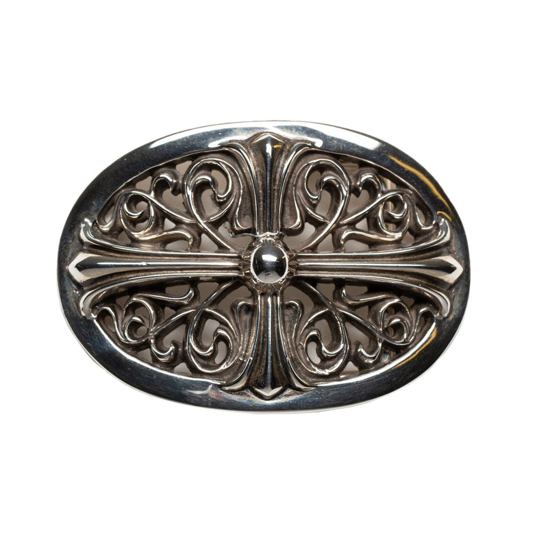 Silver Floral Cross Oval Belt Buckle
