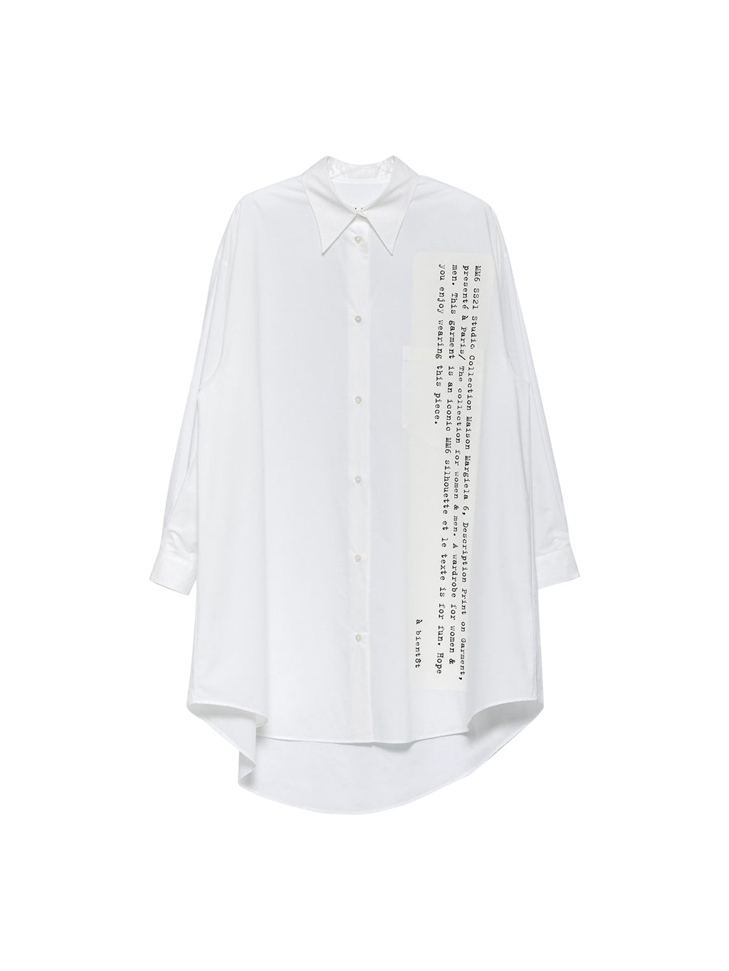 White Text Print Dress Shirts