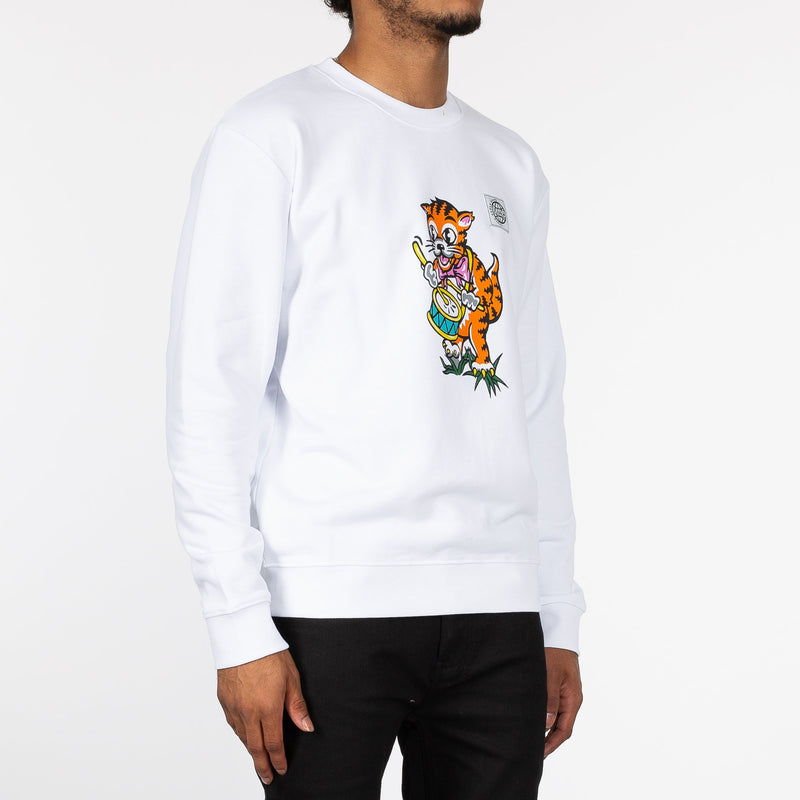 White Drumming Tiger Sweatshirt