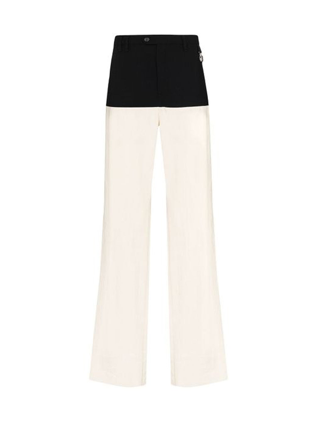 Beige & Black Color Blocked Suspender Pants