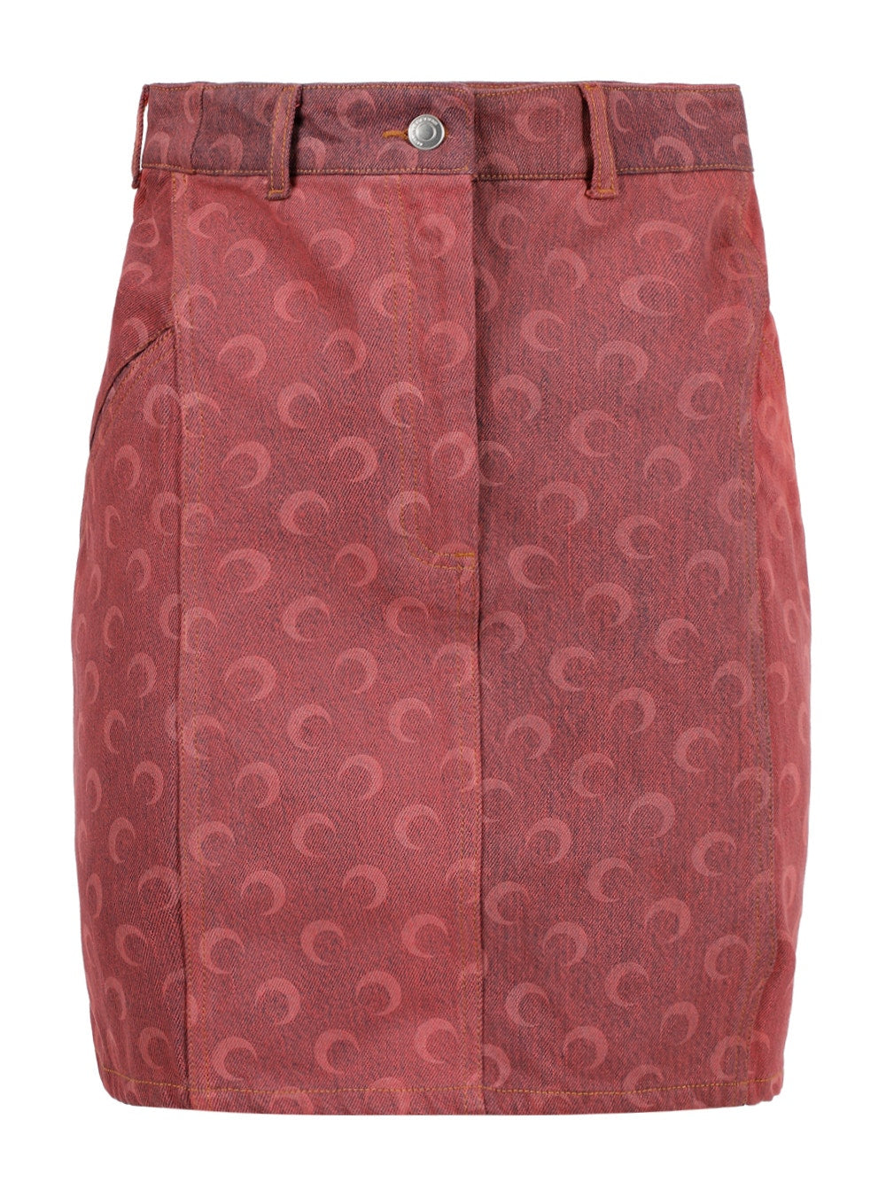 Rose Pink Regenerated Moon Denim Skirt
