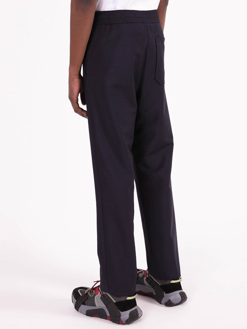 Navy Regular Fit Wool Pants