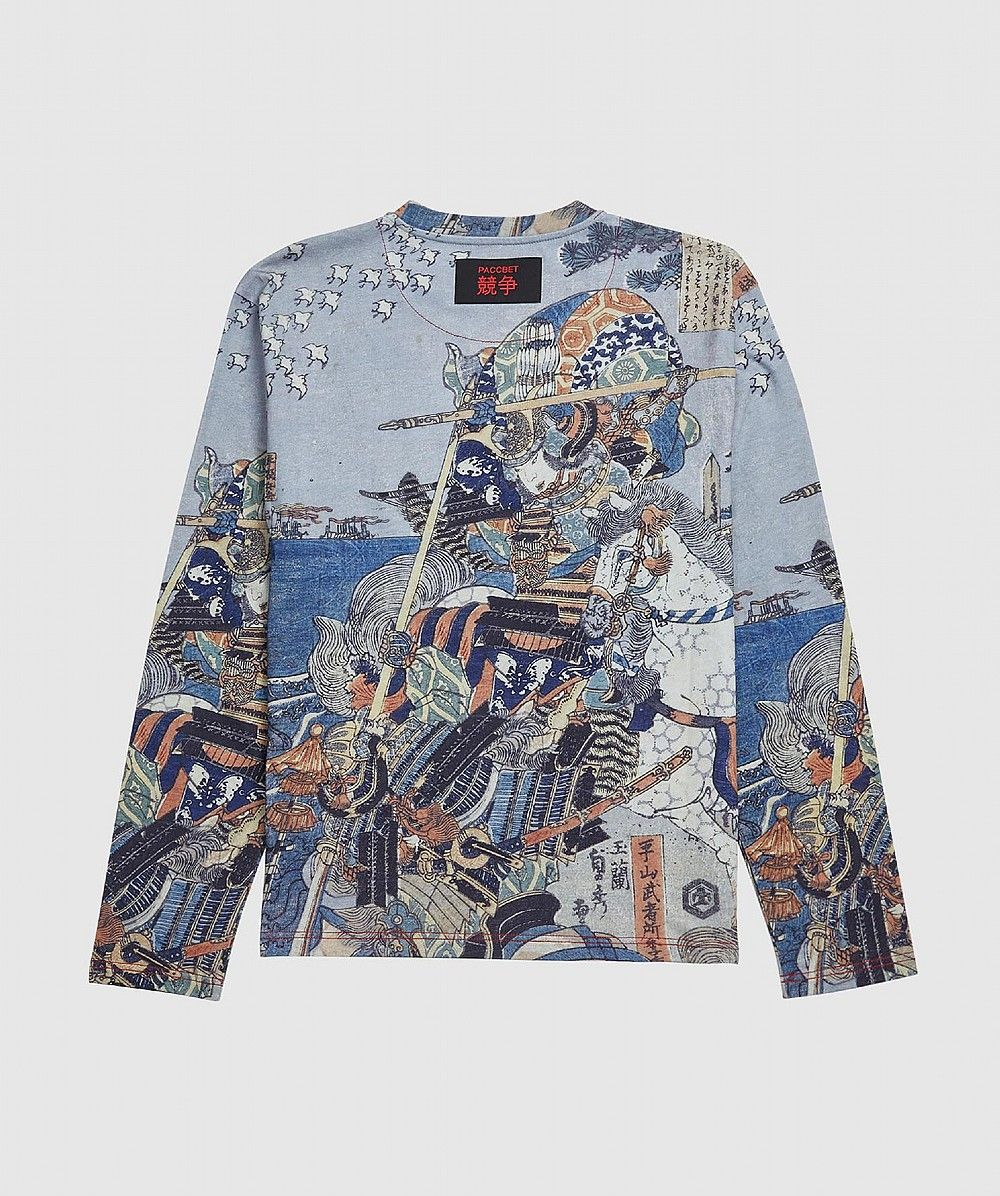 Blue All Over Print Long Sleeve T-Shirt
