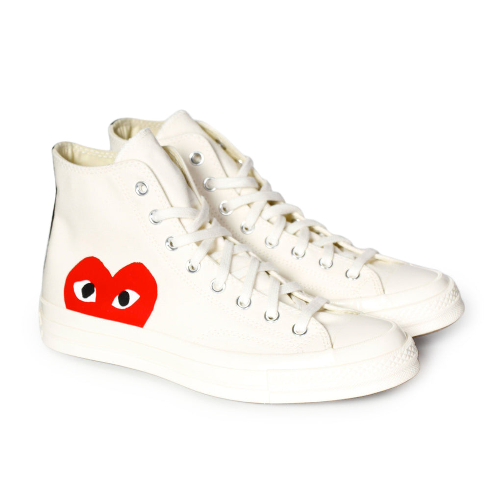 White Play Red Heart Converse Chuck All Star '70 High Shoes