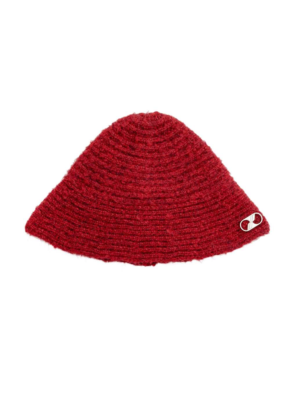Red Embroidered Metal Logo Narrow Bucket Hat