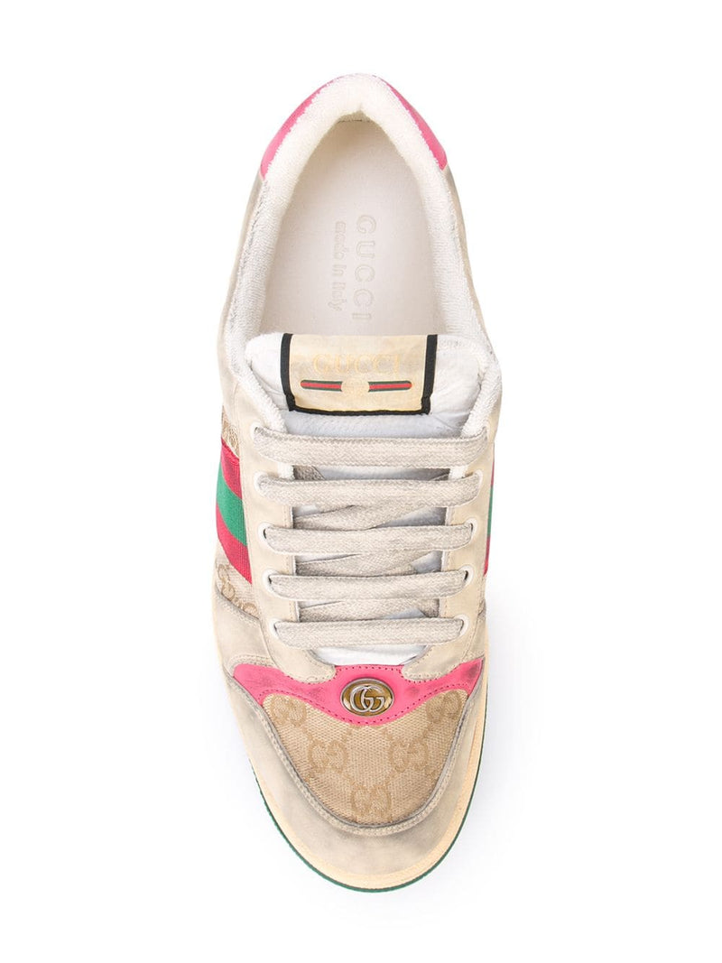 Beige Monogram Screener Sneakers