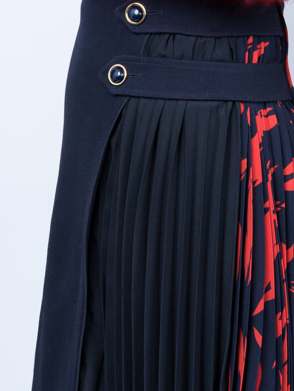 Blue Pleated Godet Mini Skirt
