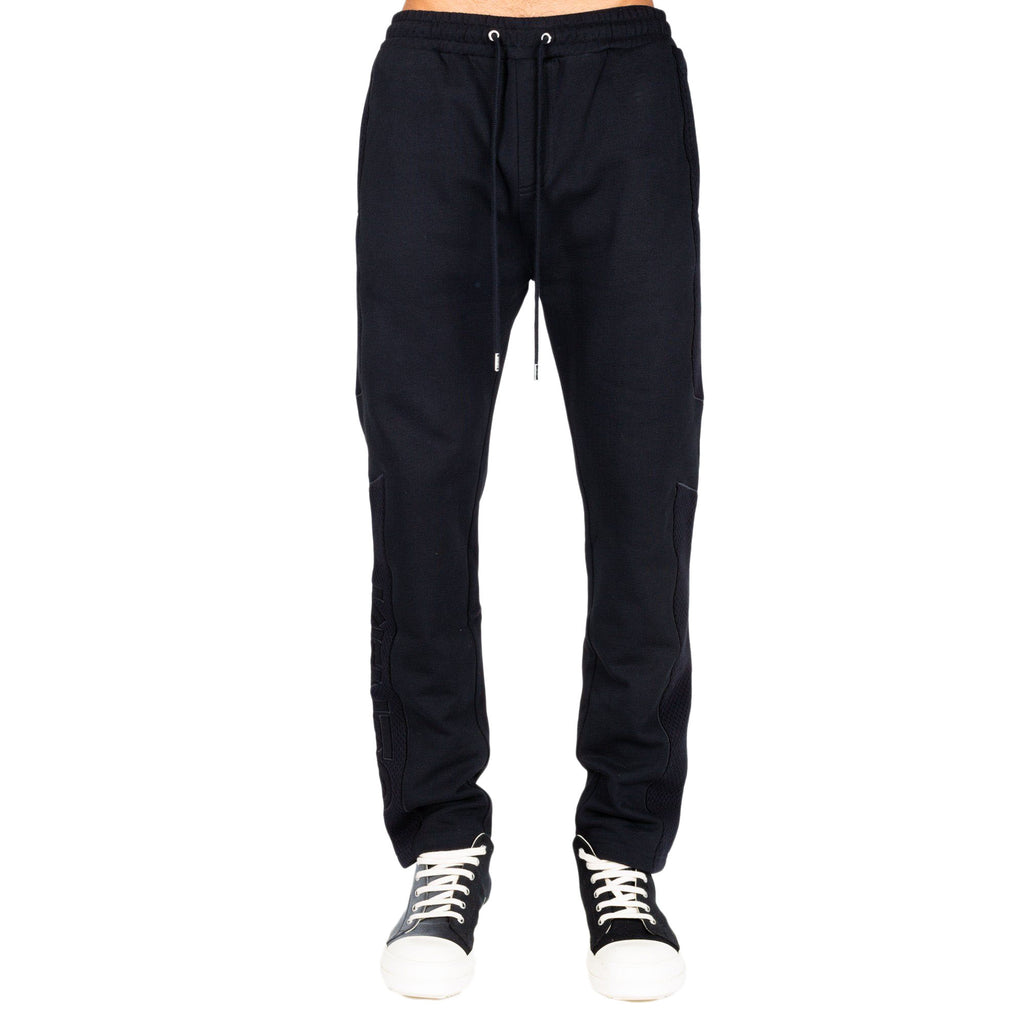 Black Mesh Tapered Sweatpants