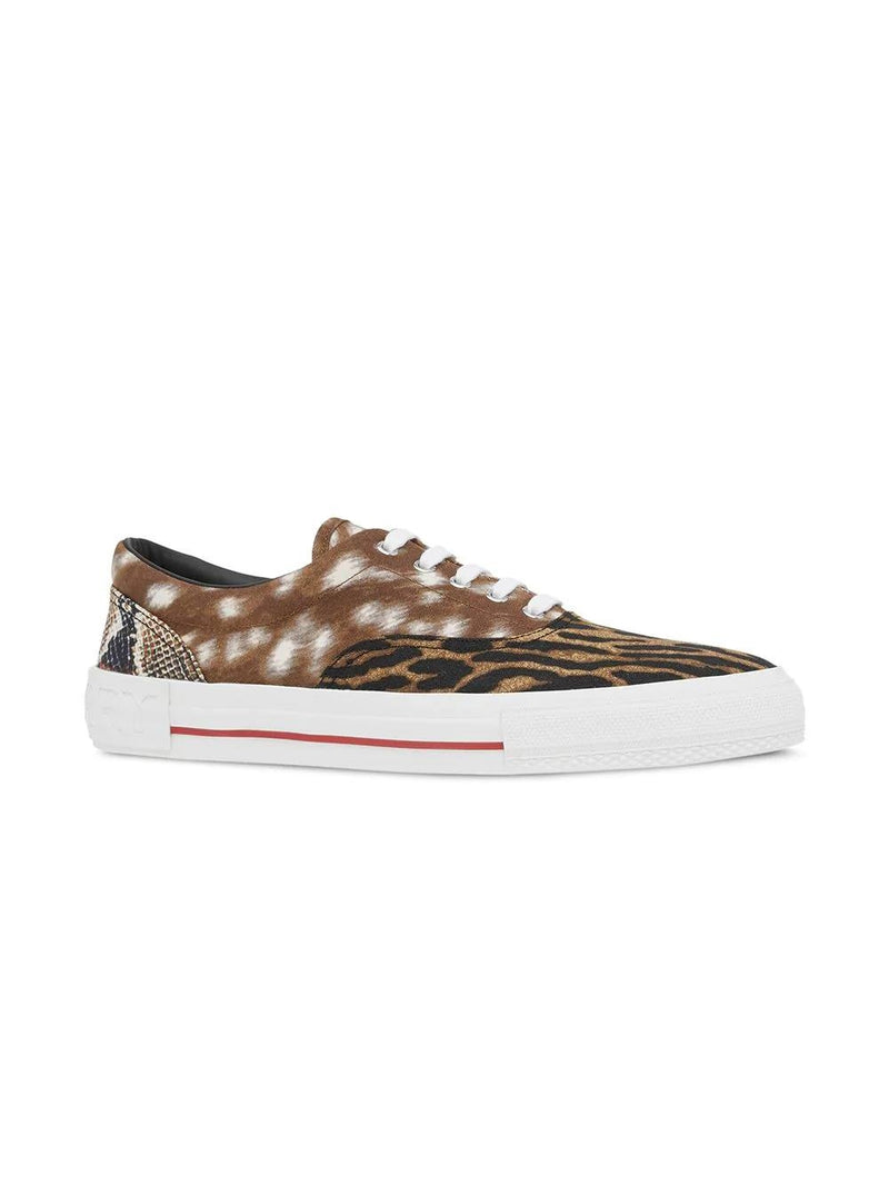 Brown Animal Print Cotton Canvas Sneakers