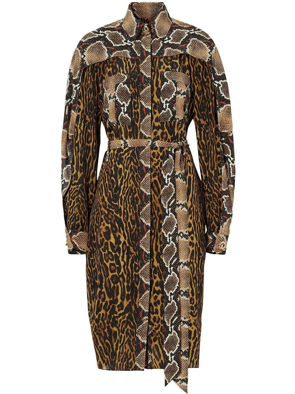 Brown Silk Animal Print Shirt Dress