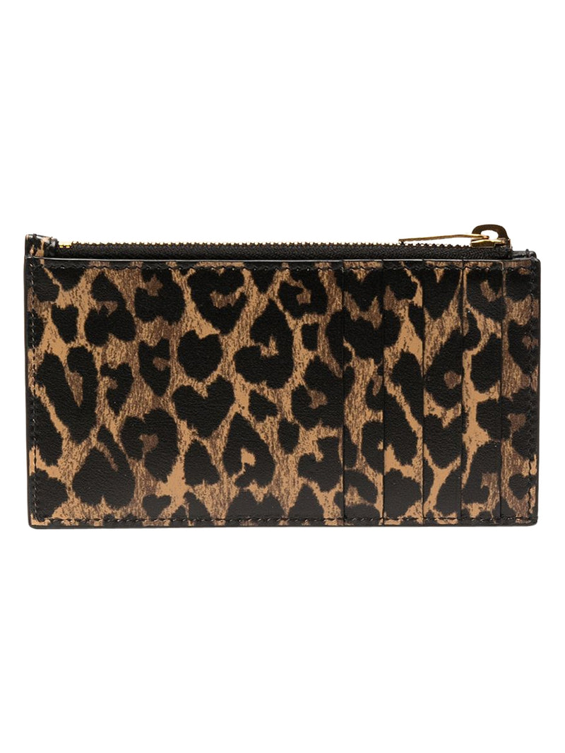 Toffee Zipped Leopard Print Card Holder