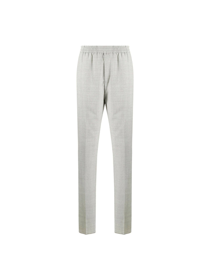 Light Grey Melange Wool Jogger Trousers