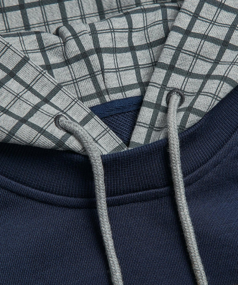 Navy Checked Popover Hoody