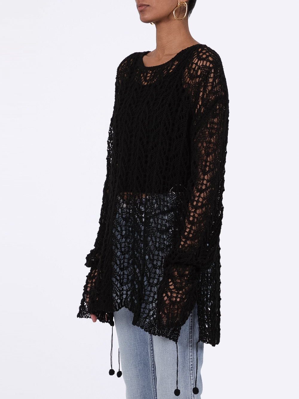 Black Crochet Sweater
