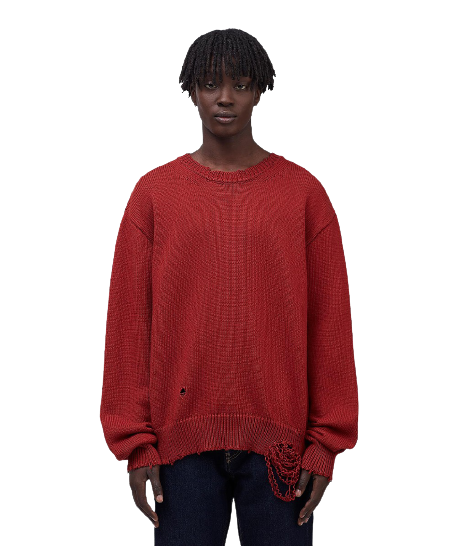 Red Destroyed Knit Jersey