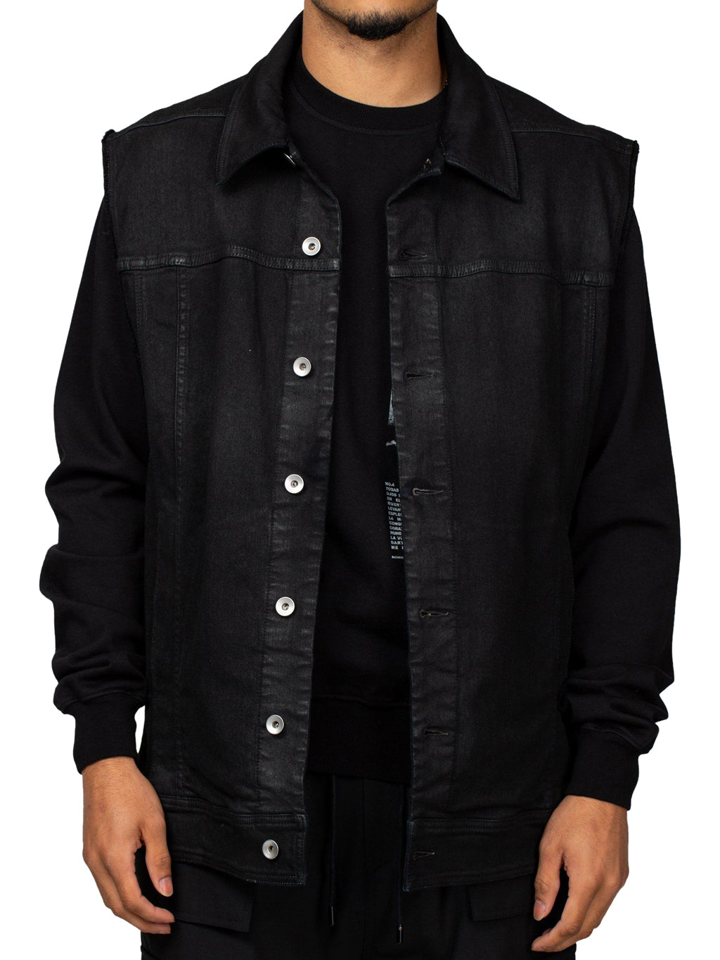 Black Sleeveless Oversized Worker Jacket