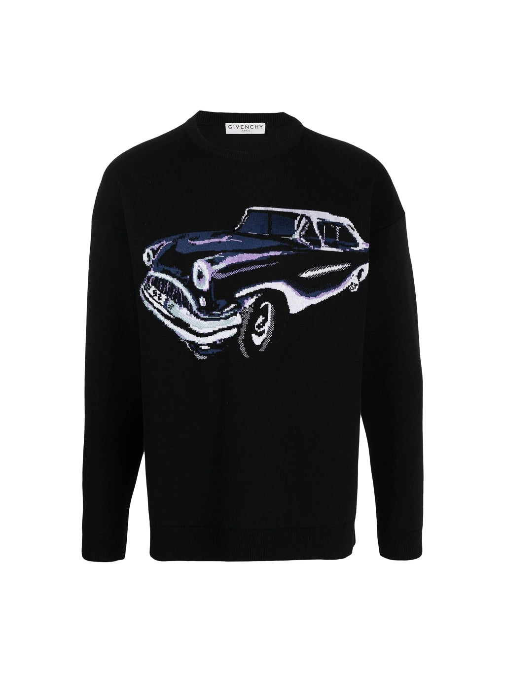 Black Car Motif Intarsia Knit Sweater