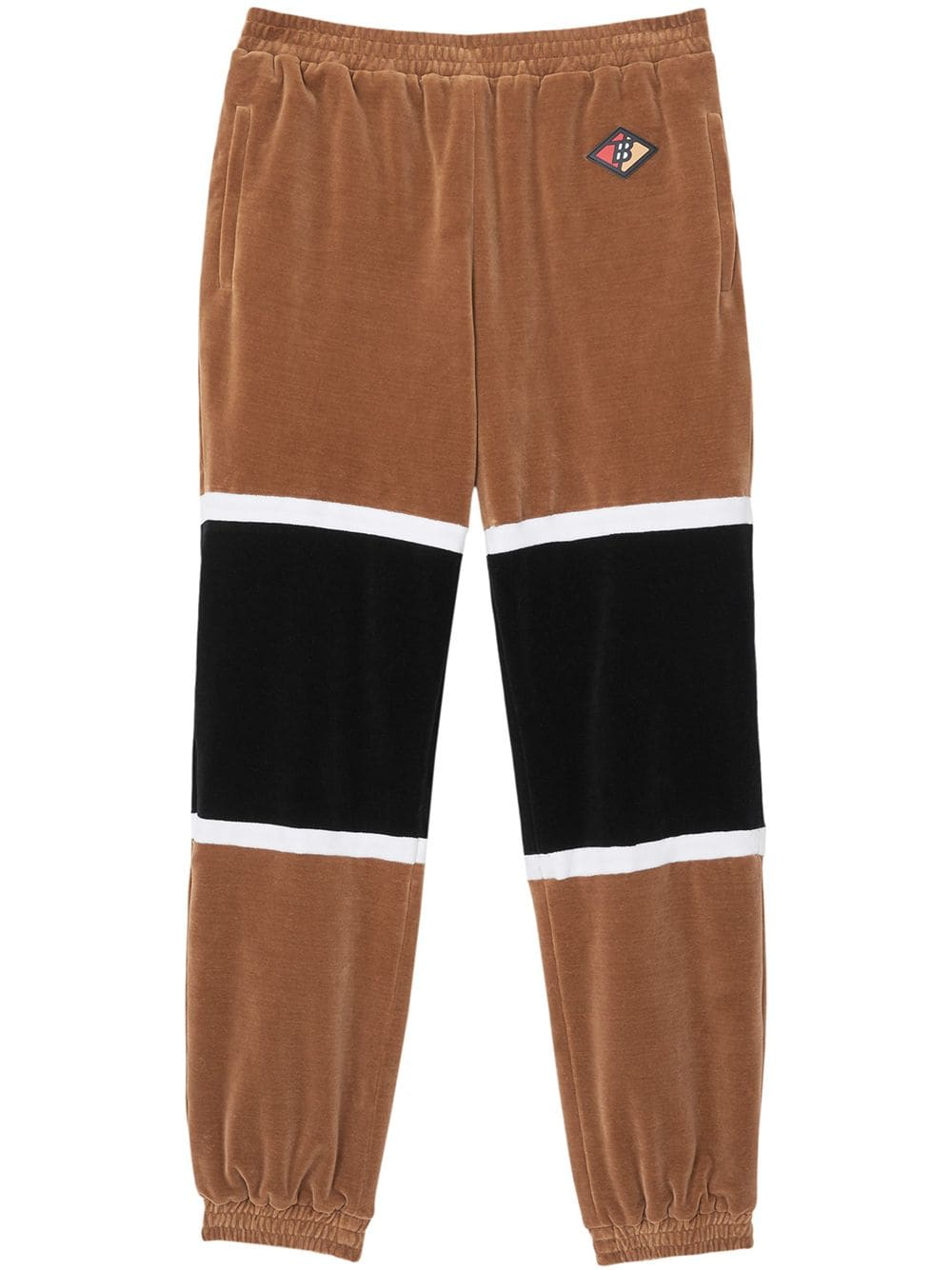 Brown & Black Logo Graphic Striped Chenille Track Pants