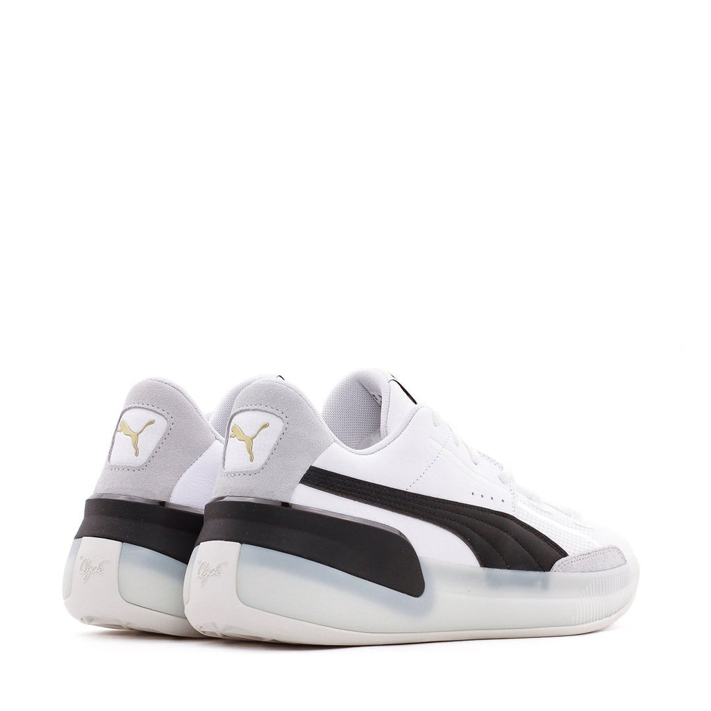 White & Black Clyde Hardwood Sneakers