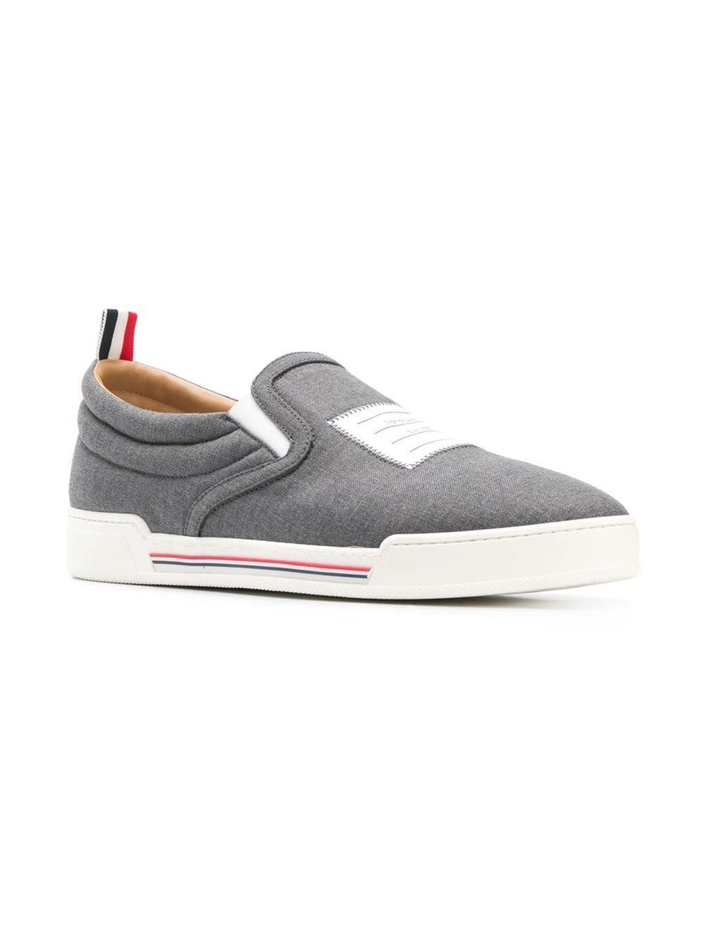 Grey 4-Bar Paper Label Slip-On Trainer