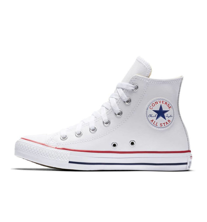 White Leather Chuck All Star Hi Sneakers