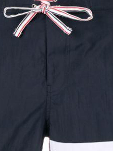 Navy Classic Four Bar Solid Tech Swim Shorts