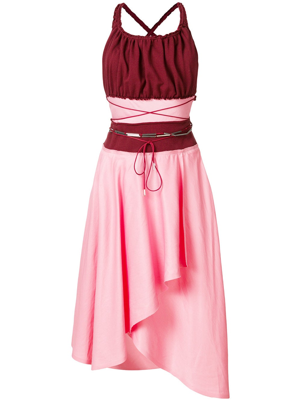 Pink & Red Gathered Bodice Belted Dress