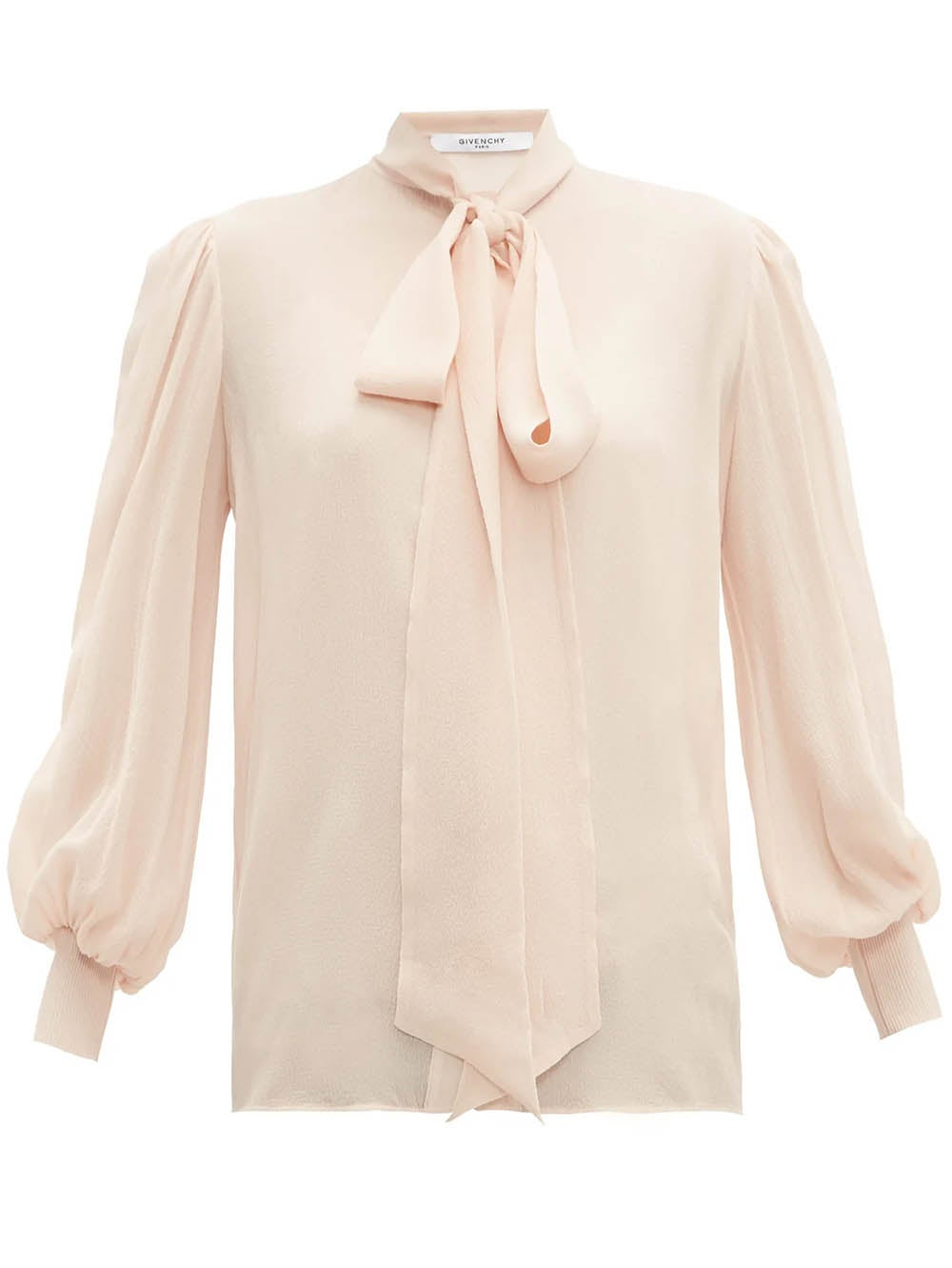 Beige Long Sleeve Silk Blouse