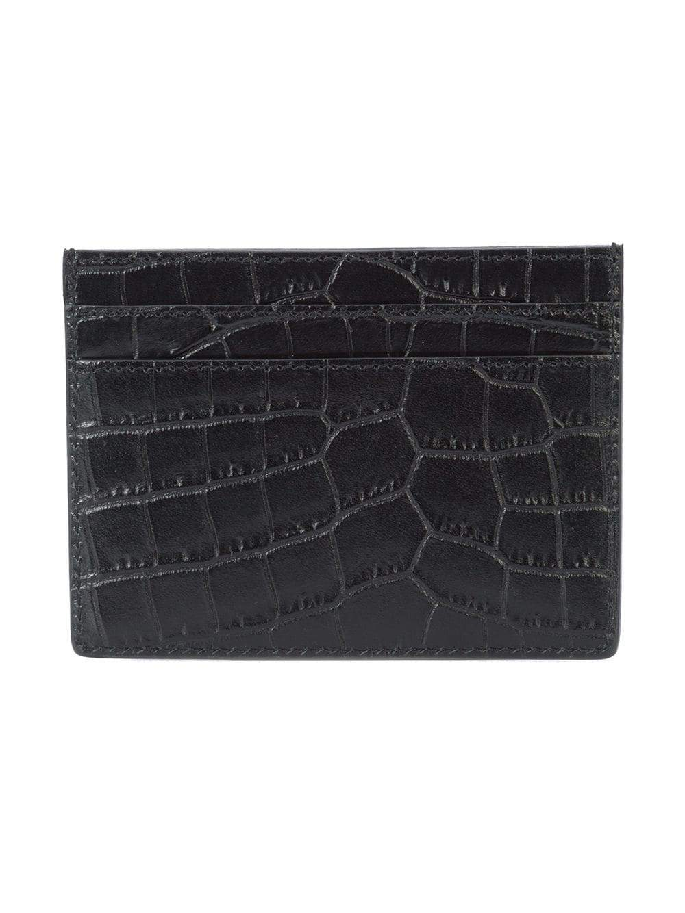 Black Embossed Leather Credit Card Case