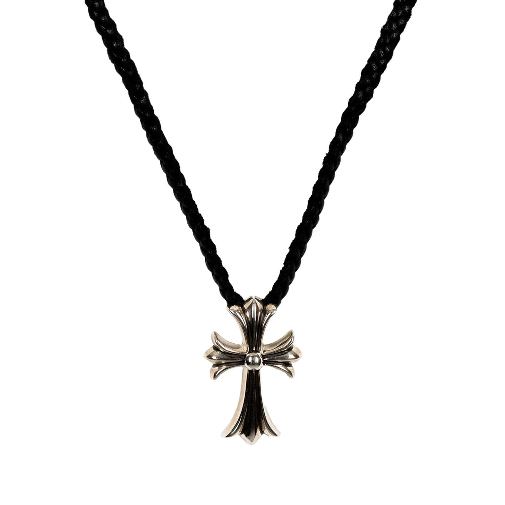 Silver CH Cross Small Leather Braided Pendant