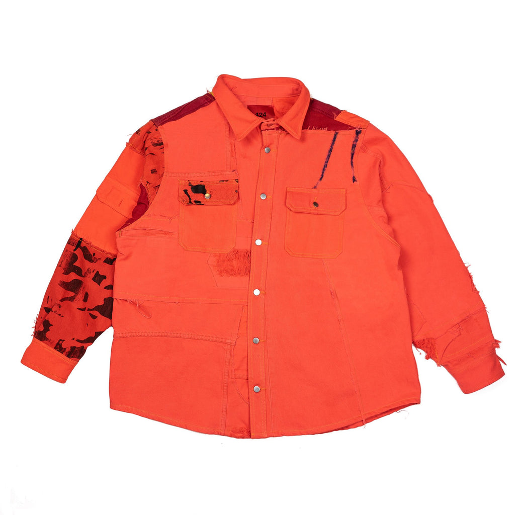 Orange & Red Reworked Denim Paneled Work Shirt