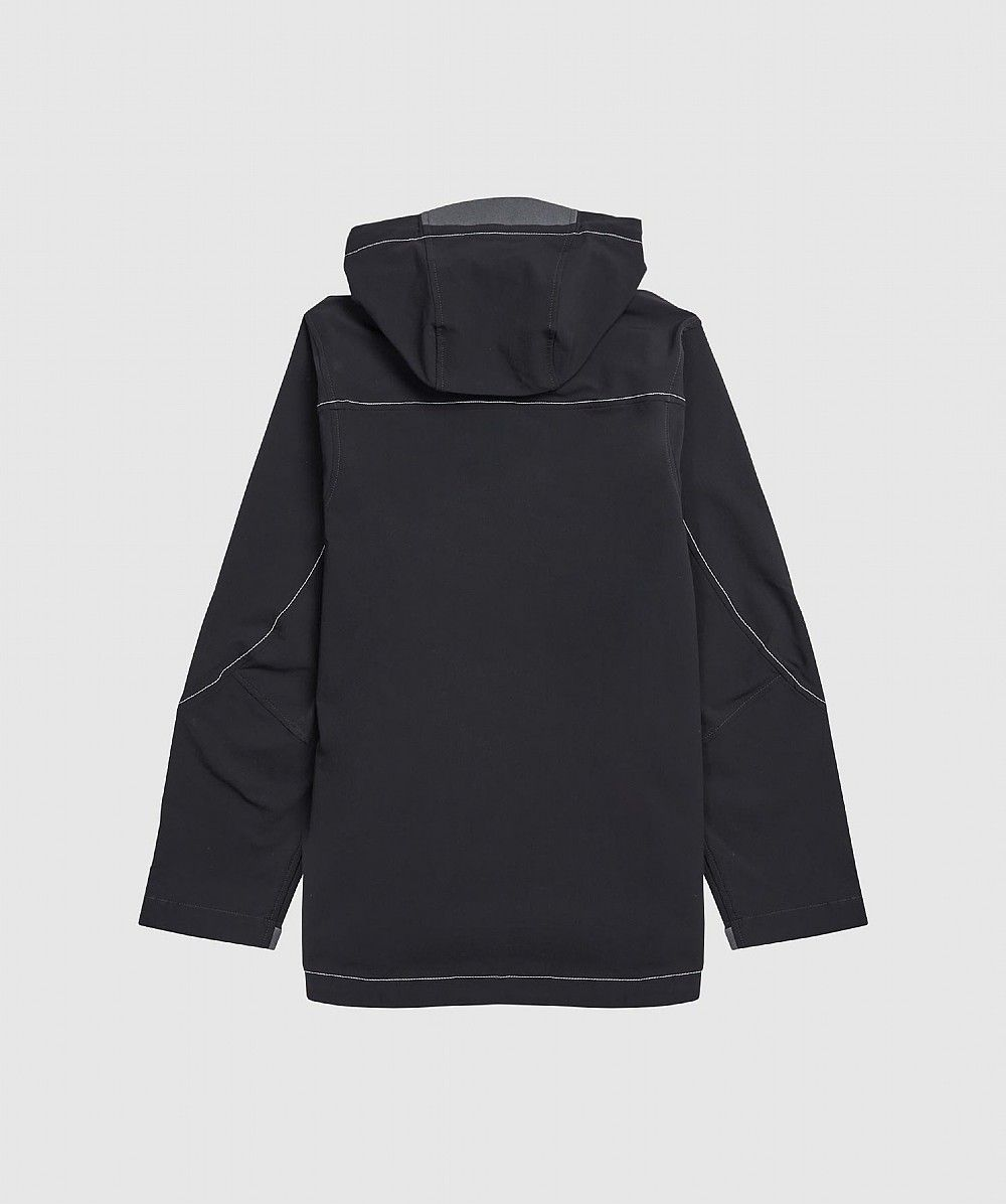Black Double Cloth Hooded Jacket
