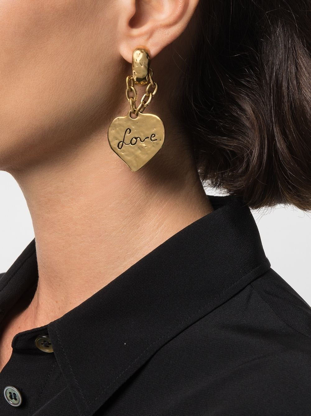 Golden Love Heart Pendant Earrings