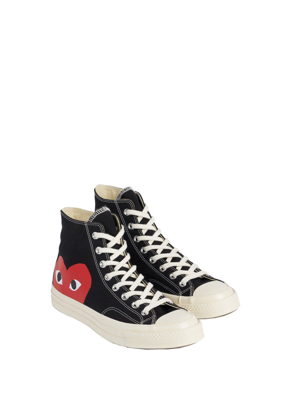 Black Converse Play Red Heart Chuck All Star '70 High Shoes