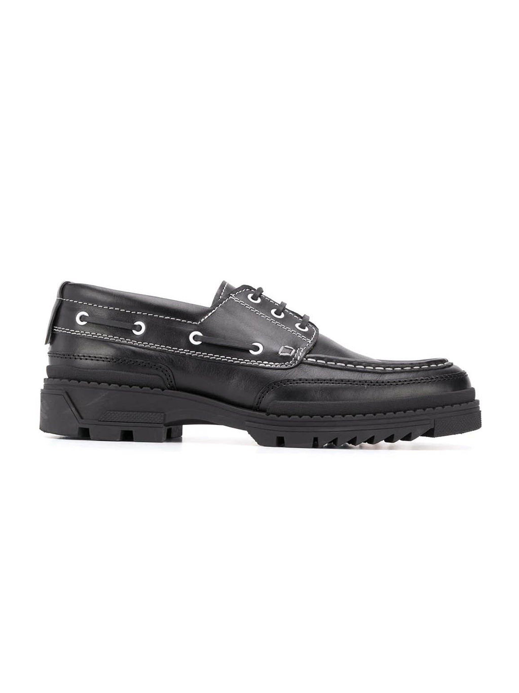 Black Boat Tractor Sole Shoes