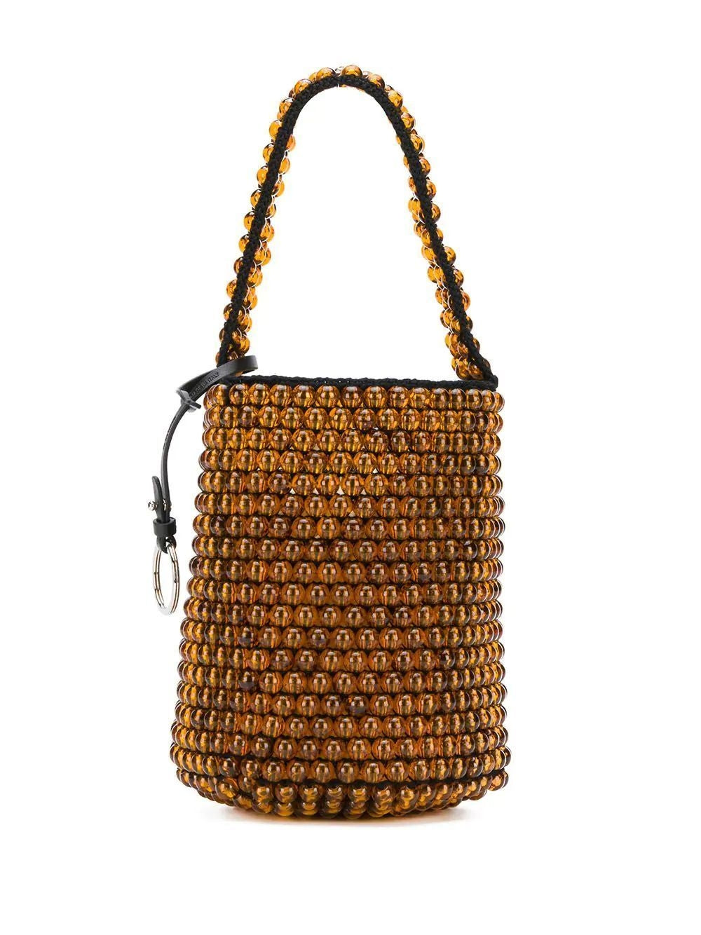 Orange Beaded Drawstring Bucket Bag