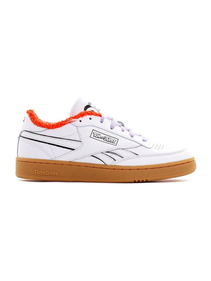 White & Brown Tom and Jerry Club C Revenge Sneakers