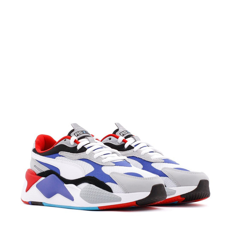 White & Blue RS-X³ Puzzle Sneakers